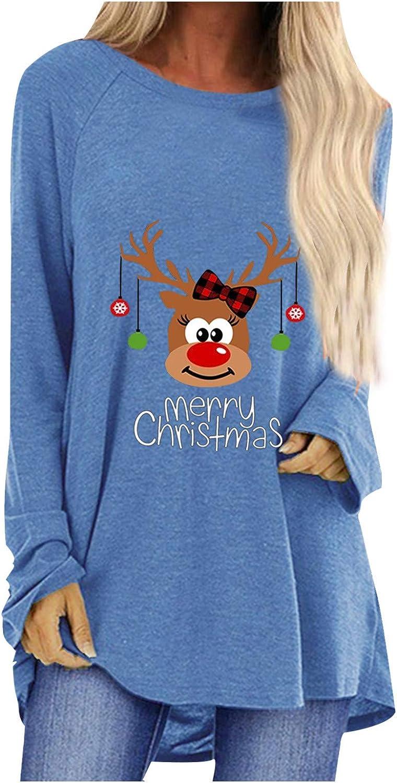 WUAI-Women Casual Long Sleeve Tshirts Christmas Reindeer Cute Printed Comfy Cozy Slouchy Loose Crewneck Tops Blouse