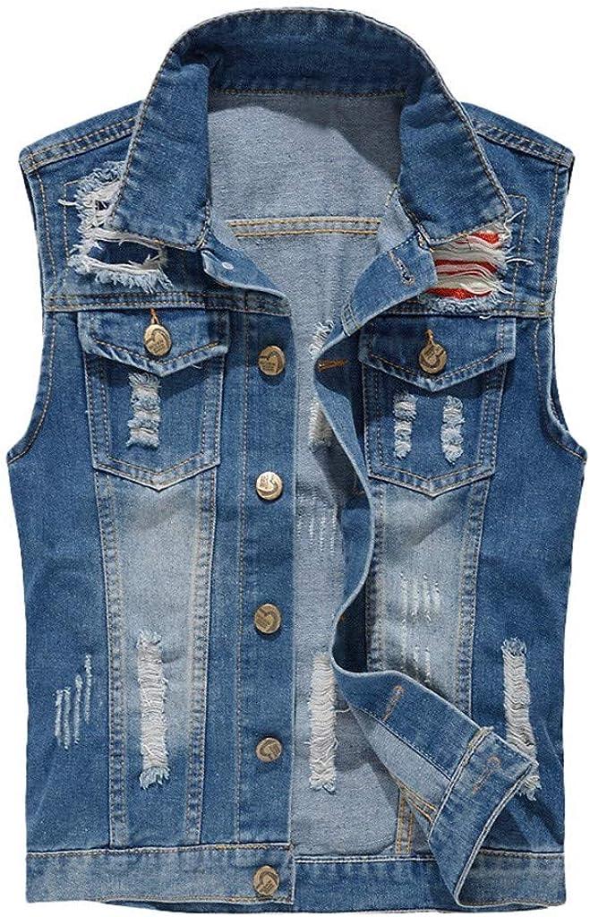 NREALY Chaqueta Vaquera Mens Denim Free Shipping New Fees free Cowboy Jacket in Casual Vest