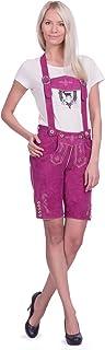 Gaudi-Leathers Damen Trachten Lederhose kurz in rapsberry/pink aus Zigenveloursleder verfügbar in Größe 34 bis 46