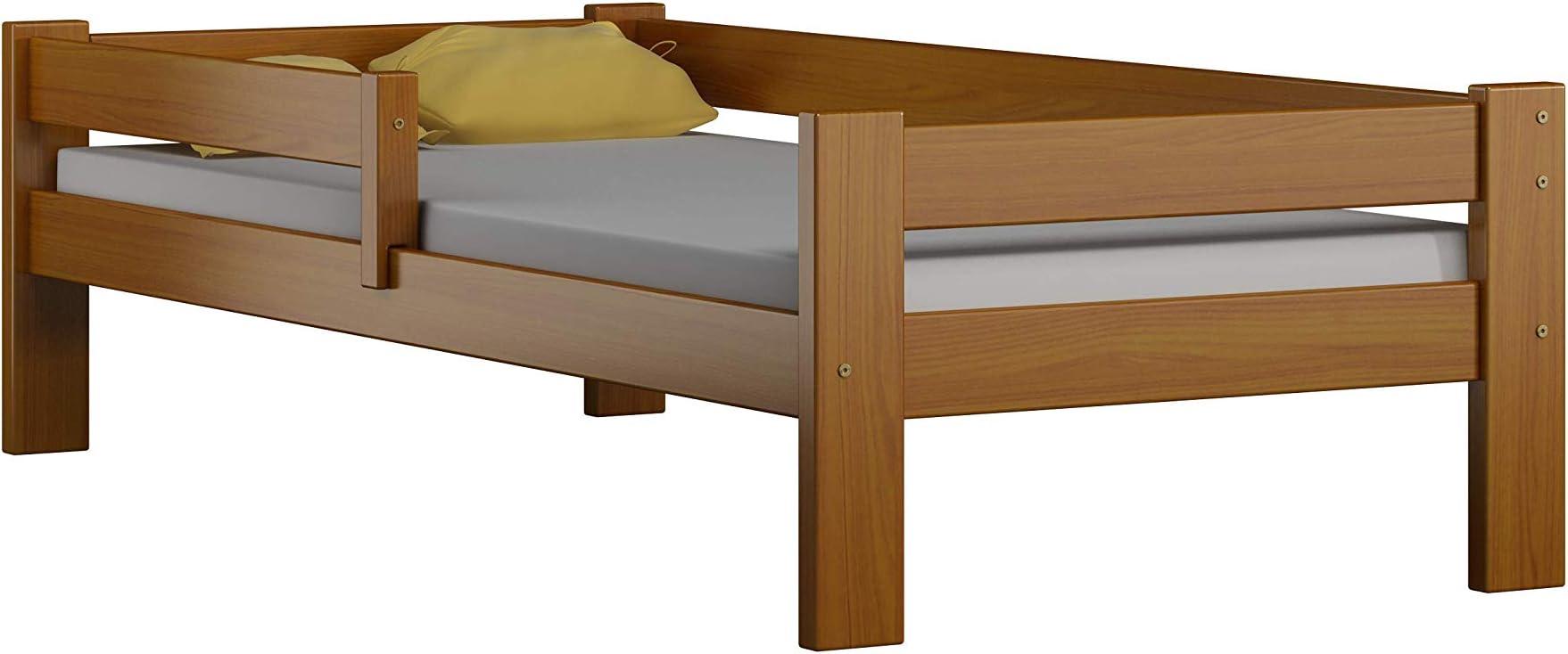 Childrens Beds Home Cama Individual de Madera Maciza de Pino - Sauce sin cajones ni colchón Incluido (160x80, Aliso)