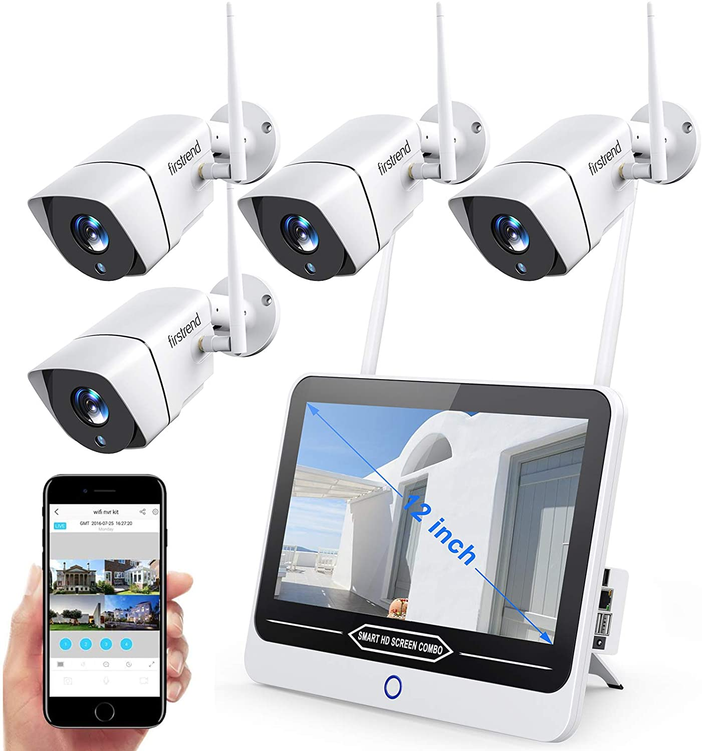 [2021 Newest]Security Camera System Wireless with Monitor,Firstrend All in One with 12inch Monitor Wireless Security System 1080P 4pcs Cameras Night Vision Motion Alert for Indoor Outdoor Surveillance