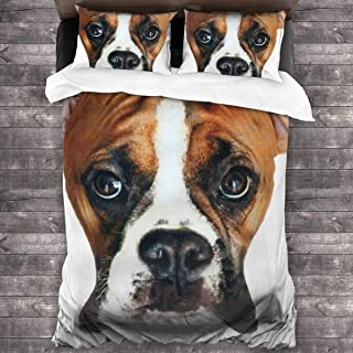 pengyong Duvet Cover Set Boxer Dog Head 3 Piece Bedding Set Comforter Set with 2 Pillow Shams Zipper-Extra Long Perfect for Any Bed Room Or Guest Room