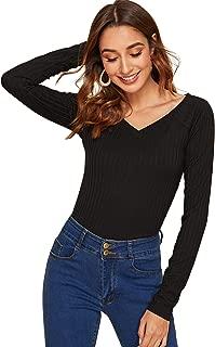 Best black v neck long sleeve blouse Reviews