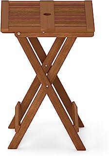 Furinno FG18065 Tioman Hardwood Patio Furniture Folding Table in Teak Oil, Large, Natural
