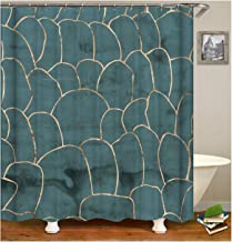 AMDXD Bathroom Curtains Elegant Geometric Figure Bath Curtains Green Shower Curtain165x200CM
