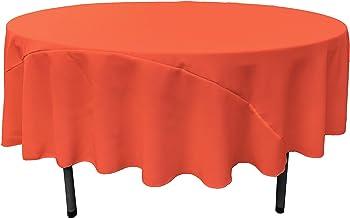 LA Linen 90-Inch Round Polyester Poplin Tablecloth, Coral