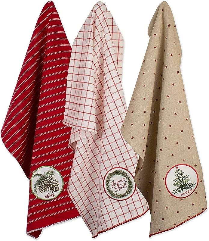 DII 100 Cotton Holiday Dishtowels Decorative Oversized 18x28 3 Pack Noel