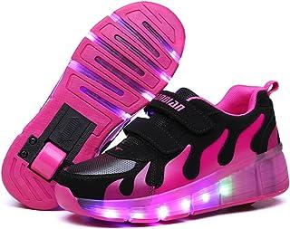 srder-Clignotante Chaussures à roulettes, 7 Colorés LED Roller Chaussures de Skateboard Baskets Lumineuse avec Roues Sport...