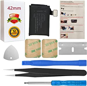 A1761 Battery Replacement Compatible with Apple Watch Series 2 42mm A1758 A1817 with Installation Instruction + Repair Tool Set + Back Cover Adhesive