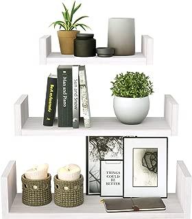 SRIWATANA Floating Shelves Wall Mounted, Solid Wood Wall Shelves, White Finish