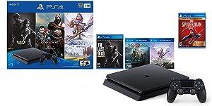 PlayStation 4 Slim 1TB Only on PlayStation Console Bundle | Bundle : God of War game voucher,Horizon Zero Dawn: Complete Edition voucher,Marvel's Spider-Man, The Last of Us Remastered game | Jet Black