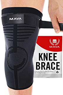 MAVA Knee Sleeve - Knee Support with Adjustable Strap -Does NOT ROLL Down- Compression Knee Brace for Men & Women -Weightlifting, Running, Workout, ACL - Pain Relief - Check Sizing Chart - ONE Piece