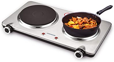 GIVENEU 1800W Electric Hot Plate Stove for Cooking, Cast-Iron Electric Double Burner with Adjustable Heat and Automatic Sh...
