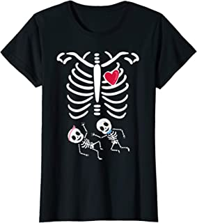 Womens Skeleton Twin Pregnancy Halloween T-Shirt
