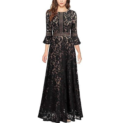 d44230a390e MISSMAY Women s Vintage Full Lace Contrast Bell Sleeve Formal Long Maxi  Dress