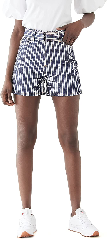 Ganni Women's Mixed Stripe Denim Shorts
