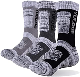 YUEDGE Men's 3 Pairs Wicking Breathable Cushion Anti Blister Casual Crew Socks Outdoor Multi Performance Hiking Trekking W...