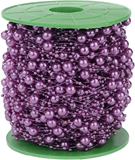 200FT 60M 8+3mm Fishing Line Artificial Pearls Beads String Roll,Pearl Beaded Trim Decoration for DIY Flower Tree Garland,Wedding Party,Bridal Bouquet,Christmas Gift and Hair Band (Purple Pearl)