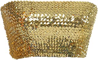 Womens Shiny Sequin Party Cropped Strapless Bandeau Stretch Tube Top