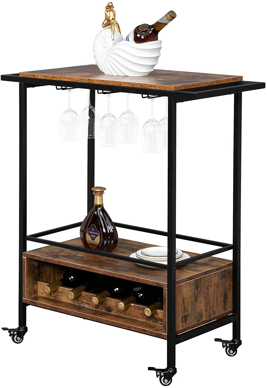 Bonnlo Max 44% OFF Sales Home Bar Serving Carts Mobile Rack Cart Table Liquor Wine