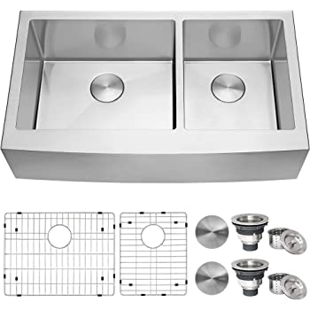 Ruvati 36-inch Farmhouse Apron-Front 60/40 Double Bowl Kitchen Sink Stainless Steel - RVH9599