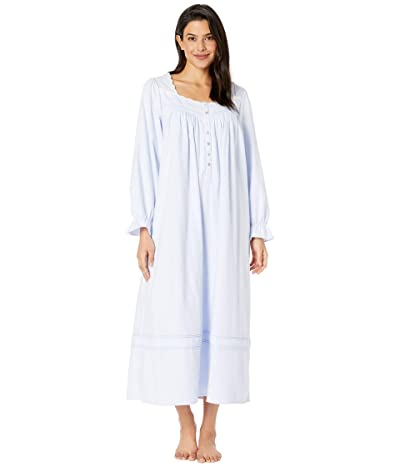 Eileen West Cotton Flannel with Embroidery Long Sleeve Ballet Nightgown (Peri/White Embroidery) Women