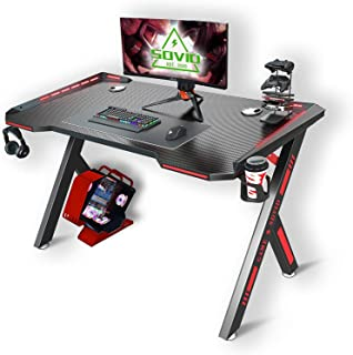 Chulovs Gaming Desk with LED RGB Lights 120cm PC Computer Desk Y Shaped Gamer Home Office Computer Desk Table with Handle ...