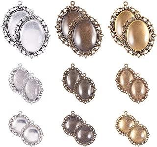 PandaHall Elite 18sets Base Camafeo Colgante y Cabuchones de Cristal para Hacer Bisutería Collar, Misto Color