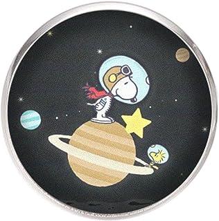 Edelstahl Brosche, Durchmesser 25mm, Stift 0,7mm, handgemachte Illustration Snoopy Astronaut