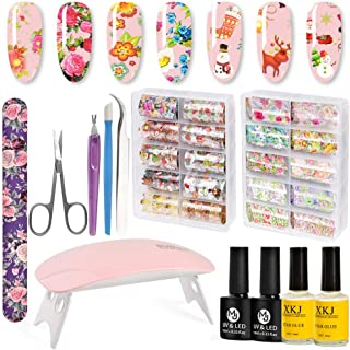 Nail Foil Transfer Sticker, TUMPLIK 20 Color Nail Decals Art Holographic Flowers & Christmas Manicure Transfer Decals DIY Decoration Kit with 4 Nail Glue and LED Nail Lamp (2 Boxes)