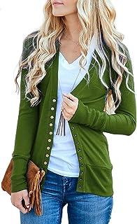 d291b4ef23 NENONA Women s V-Neck Button Down Knitwear Long Sleeve Soft Basic Knit Snap Cardigan  Sweater