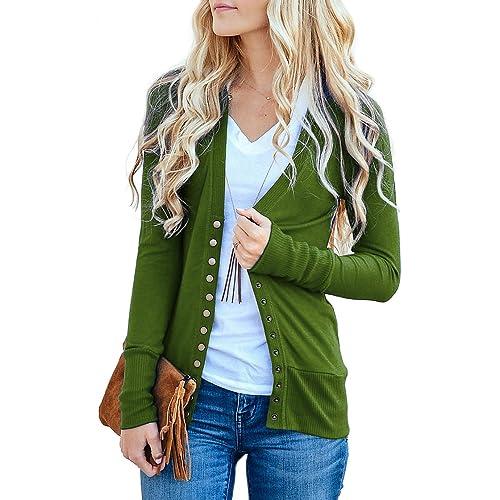ceccc450b65 NENONA Women s V-Neck Button Down Knitwear Long Sleeve Soft Basic Knit Snap Cardigan  Sweater
