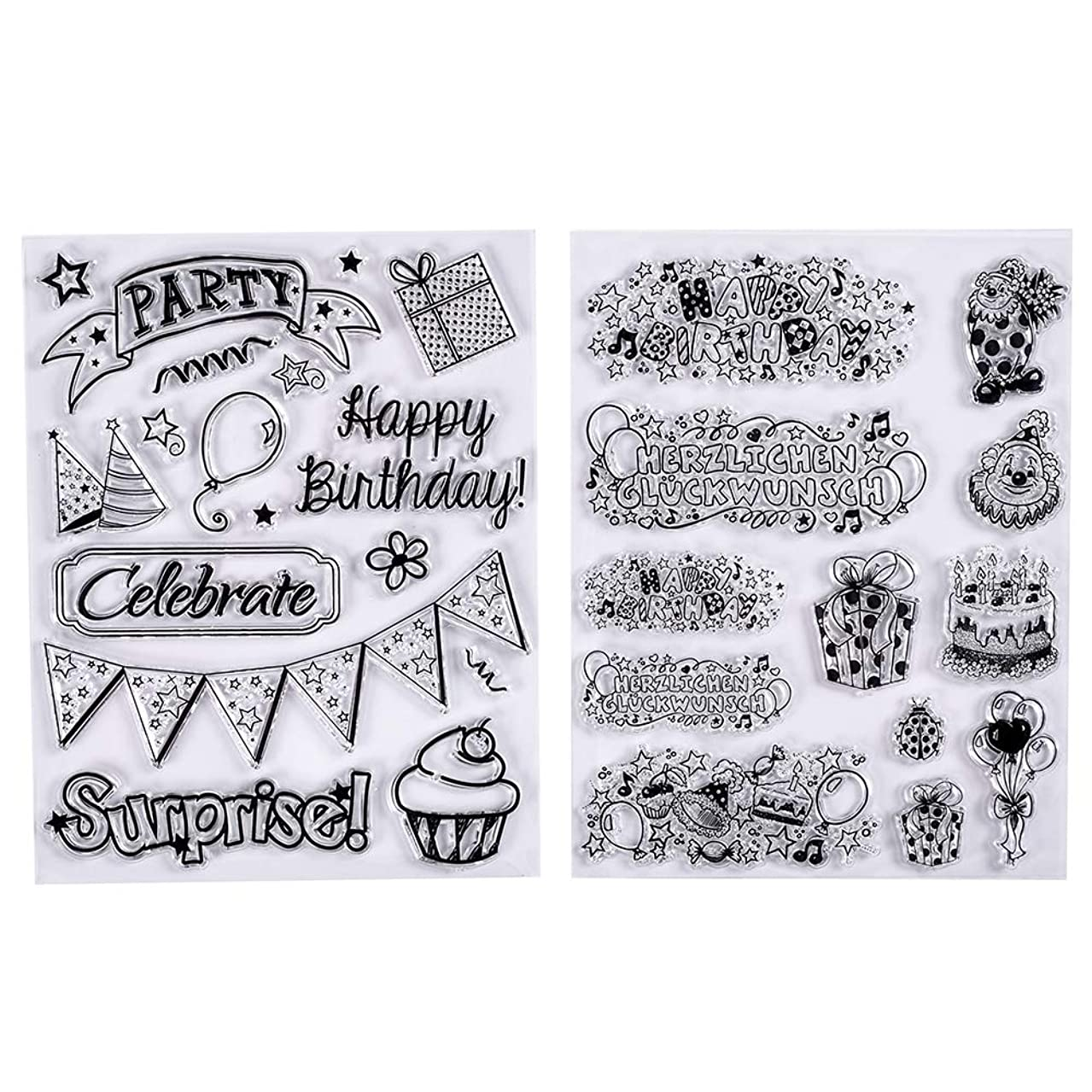 MaGuo Happy Birthday Theme Clear Stamps with Birthday Blessing Cakes Gift Balloon Flags,ect.