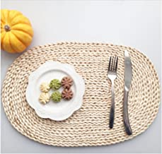 YOOKOON 1Pc Natural Oval Placemat Natural Corn bran Braided Rattan Tablemats (11.8 17.7)