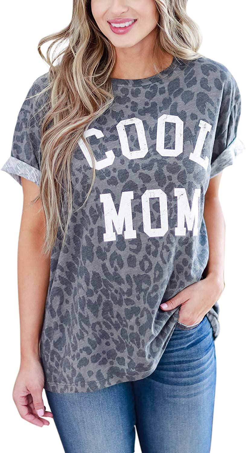 Blooming Jelly Women's Leopard Print Top Cool Mom Short Sleeve Casual Loose T Shirts
