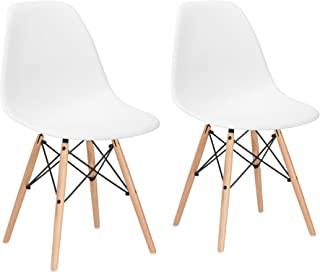 Poly and Bark Modern Mid-Century Side Chair with Natural Wood Legs for Kitchen, Living Room and Dining Room, White (Set of 2)