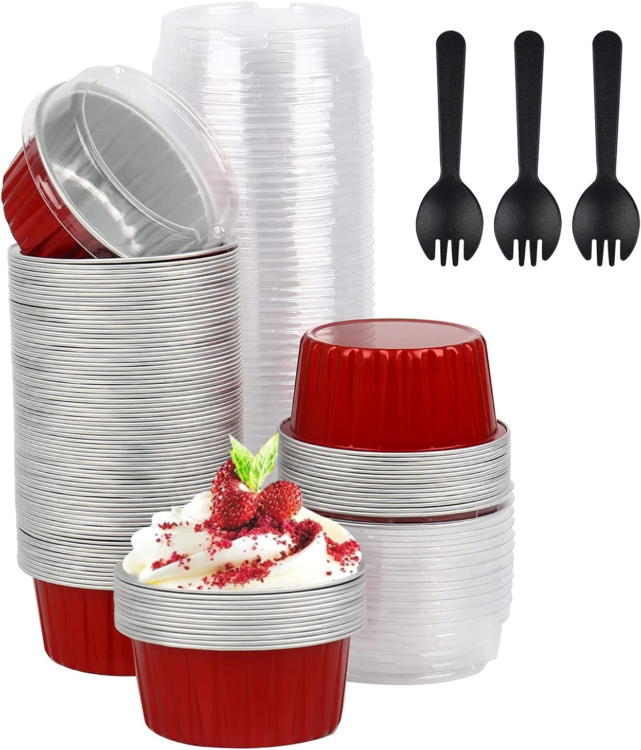 WMLBK Cupcake Baking Max 80% OFF Cups with Dessert Lids Foil Liners 2021 new