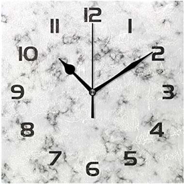 "Practical Home Office School Business 12"" Gift Wall Clock Marble Art Decorative Square Wall Clock Decor for Bedroom Living Ro"