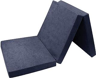 FORTISLINE - Colchón Auxiliar Plegable para Cama de Invitados (180 x 65 x 7 cm), Color Azul