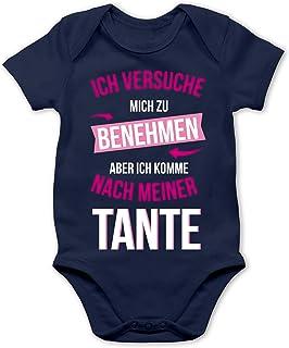 Shirtracer Sprüche Baby - Ich versuche Mich zu benehmen Aber ich komme nach meiner Tante - Baby Body Kurzarm für Jungen und Mädchen