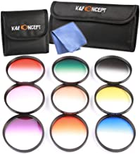 K&F Concept Slim 9pcs 67mm Graduated Color Filter Set Compatible with Canon Rebel T5i T4i T3i T2i 8-135MM Zoom Lens Includes: Orange Blue Gray Red Purple Green Pink Brown Yellow Lens Filter Kit