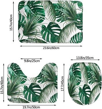 Moslion Leaf Bath Mat Tropical Tree Palm Leaves in Hawaii Forest Jungle Foliage Bathroom Mat Set 3 Pieces Rug Toilet Seat Lid