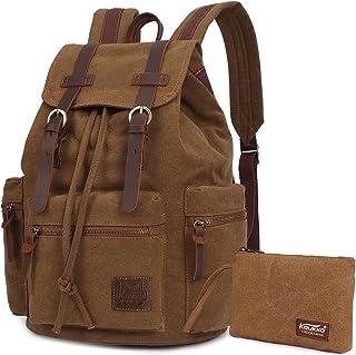 Vintage Rucksäcke,Kaukko Canvas Laptop Rucksack Damen Herren Schulrucksack Daypack Stylisch Backpack für Outdoor Wanderreise Camping mit Großer Kapazität Khaki T02