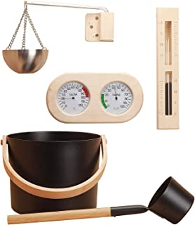 7L Sauna-emmer Sauna-accessoireset 5-delige Aluminium Sauna-emmer Met Pollepel, Aromatherapie-komset, Zandloper, Thermomet...