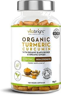 Organic Turmeric Curcumin 1380mg with Organic Black Pepper & Organic Ginger - 120 Vegan Capsules - High Strength Supplemen...