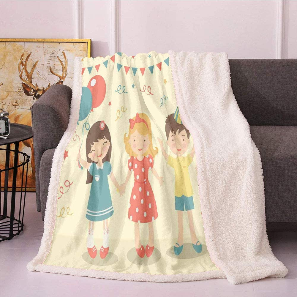 SeptSonne Party Fleece Blanket Quantity limited Frie Kids Illustration with Washington Mall