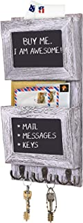 Rustic 2-Slot Mail Sorter Organizer for Wall with Chalkboard Surface & 3 Double Key Hooks - Wooden Wall Mount Mail Holder Organizer – Wall Décor for Entryway made of Paulownia Wood - Rustic White