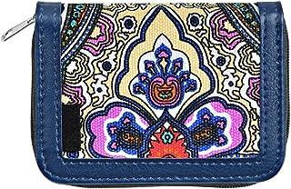 XHHWZB Zipper Coin Purse Bag Canvas Floral Print Wallet Card Pocket