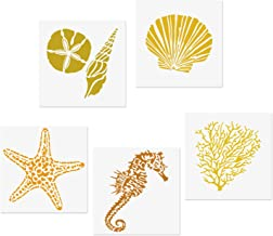 CODOHI 5 Mixed Media Sea Creatures Animals Stencils Set - Starfish, Conch, Seahorse, Coral, Shell Designs, 5.1x5.1