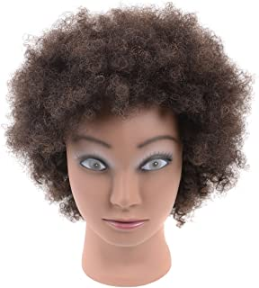 Afro Mannequin Head 100% Human Hair Cosmetology Mannequin Training Head for Cornrow Braiding with Clamp Holder